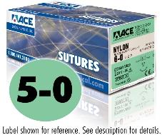 ACE 5-0 Black Mono Nylon Sutures, DS12, 10″