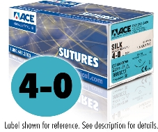 ACE 4-0 Black Braided Silk Sutures, DS18, 18″