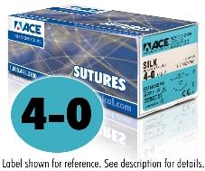 ACE 4-0 Black Braided Silk Sutures, DSM13, 18″