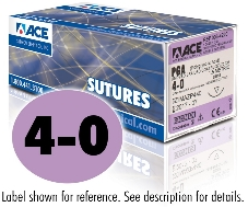 ACE 4-0 Violet Braided PGA Coated Sutures, DSM13, 18″
