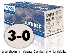 ACE 3-0 Undyed Braided PGA-RA Sutures, DSM18, 18″