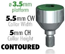 Infinity Internal Hex Healing Caps, 3.5mm Platform, 5.5mm CW – 5mm CH Contoured