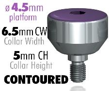 Infinity Internal Hex Healing Caps, 4.5mm Platform, 6.5mm CW – 5mm CH Contoured