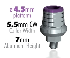 Infinity Internal Hex Prepable Abutment, 4.5mm Platform, 5.5mm CW, 2mm CH, 7mm Total Height