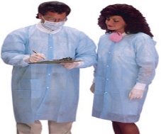 Protective Lab Coat Blue Small 10/Pk
