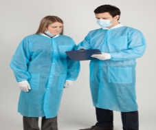 Protective Lab Coat Blue Medium 10/Package