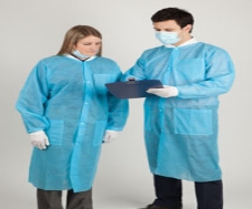 Protective Lab Coat Blue Large 10/Package