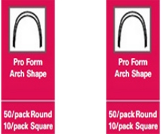 Stainless Steel Archwires – Pro Form Arch Shape – 50/pack round – 10/pack square – .017 x .025 Lower