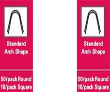 Stainless Steel Archwires – Standard Arch Shape – 50/pack round – 10/pack square – .014 Lower