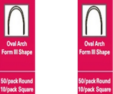 Stainless Steel Archwires – Oval Arch Form III Shape – 50/pack round – 10/pack square – .018 Lower